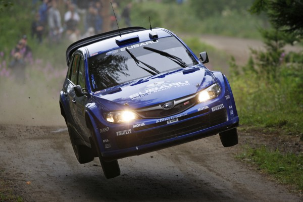 SWRT driver Petter Solberg in action on SS2, Day 1 of Rally of Finland 2008.